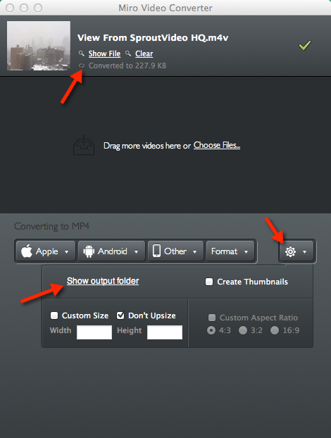 Find your finished file converted by Miro to upload to your SproutVideo video hosting account