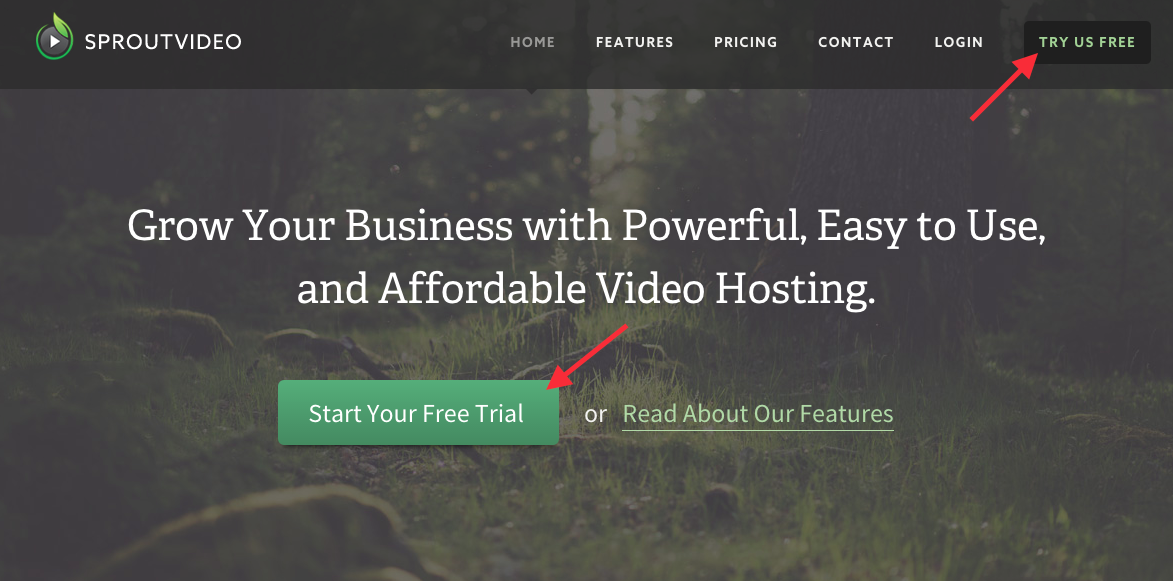 navigate to the sign up page to open a video hosting account with SproutVideo