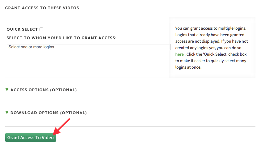 Save the setting to grant login access to videos hosted on SproutVideo