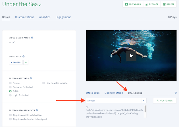 generate an email embed code for your video hosted on SproutVideo