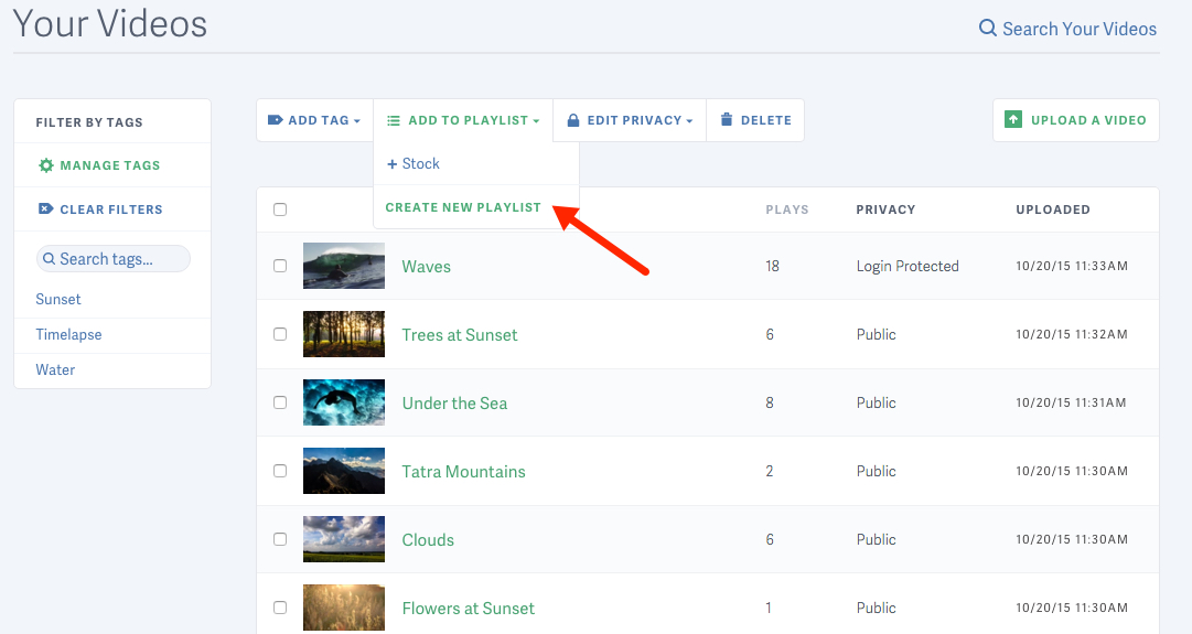Create a new playlist for your videos hosted on SproutVideo
