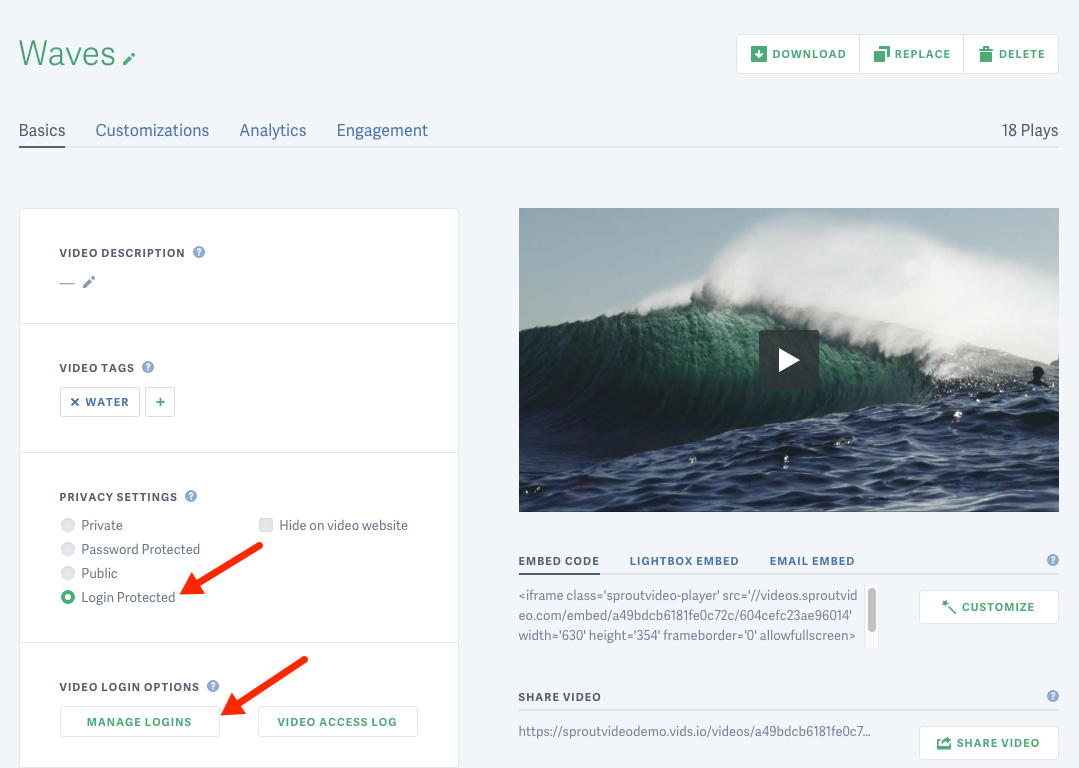 Change the privacy settings for a video hosted on SproutVideo