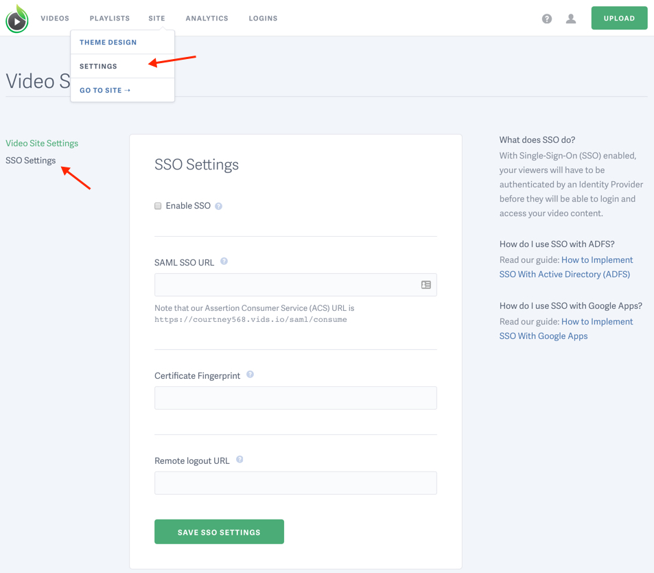 enable SSO for your SproutVideo website