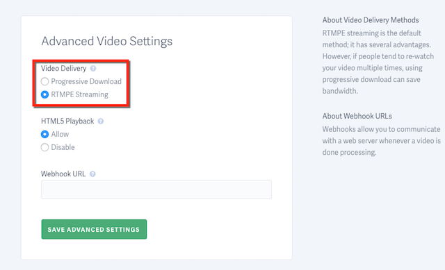 Select the video delivery method you prefer for your SproutVideo video hosting account