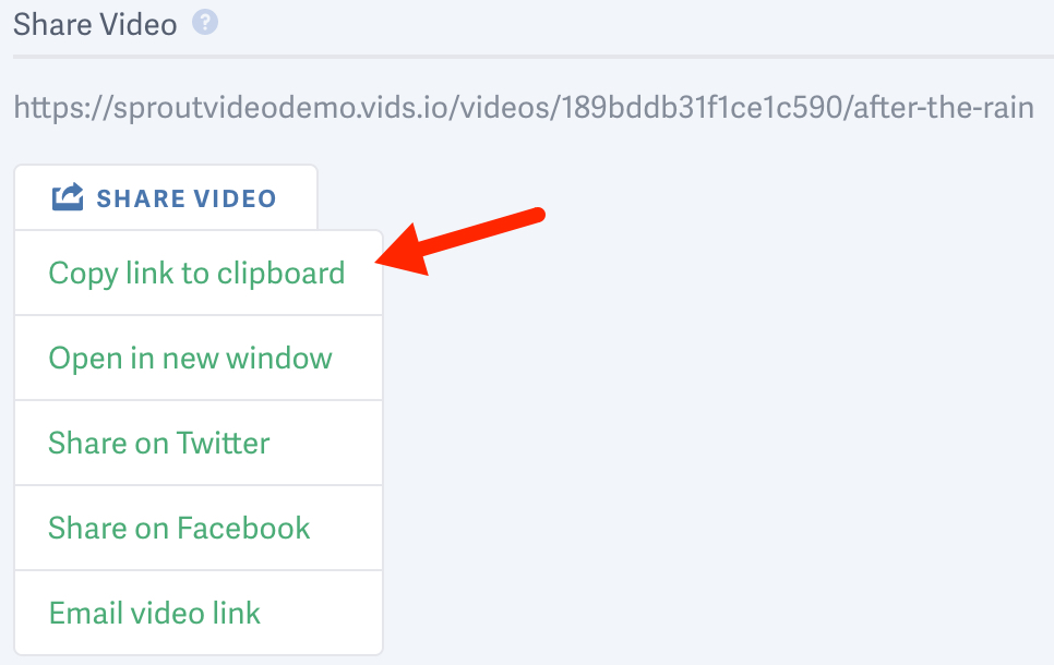 Share a video hosted on SproutVideo