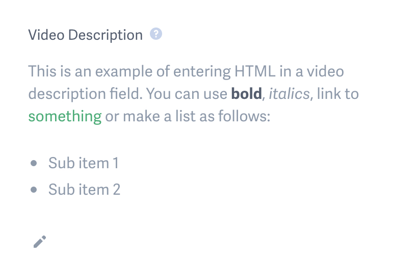 example of rendered HTML in a video description on a SproutVideo video landing page