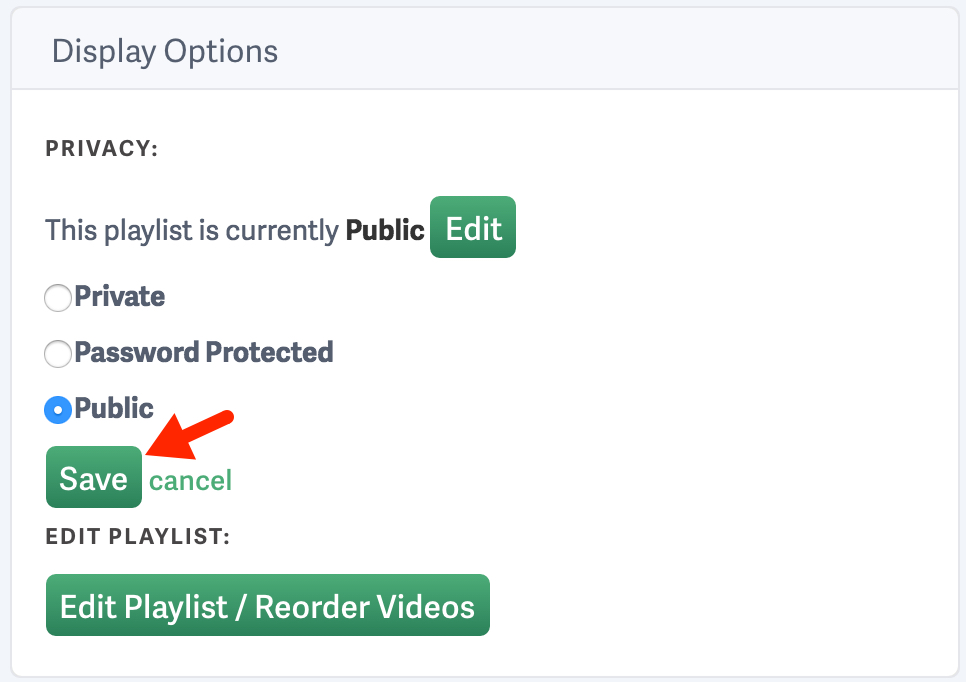 change a playlist privacy settings