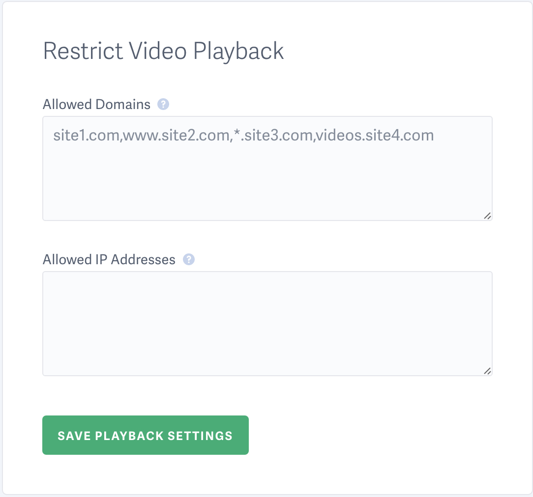 Example of Allowed Domains for video hosting account on SproutVideo