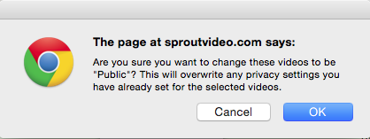 Pop-up explaining you are changing your video privacy settings