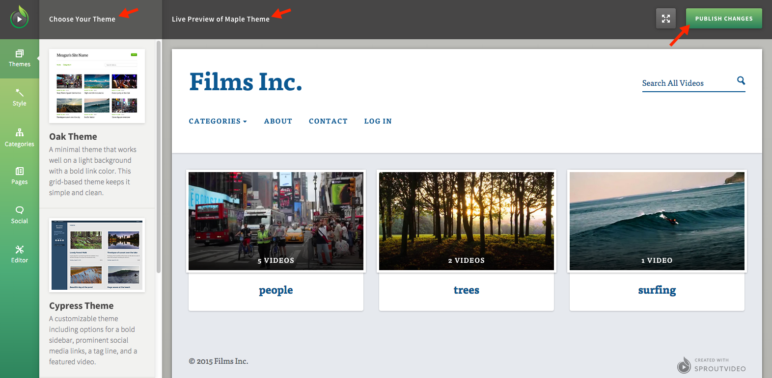 Pick a Theme for Your Video Website Hosted by SproutVideo