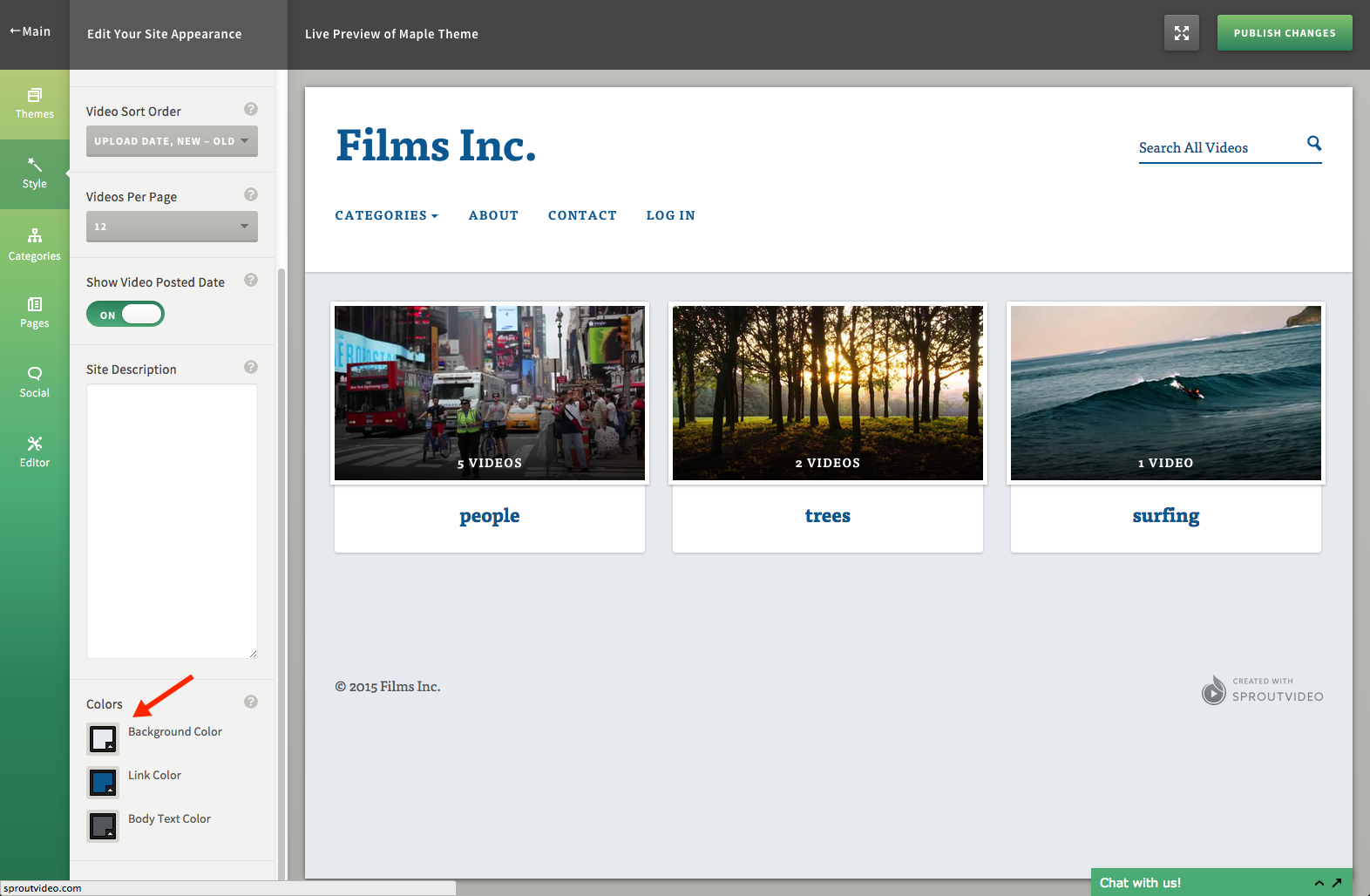 Change different colors for your video site hosted by SproutVideo
