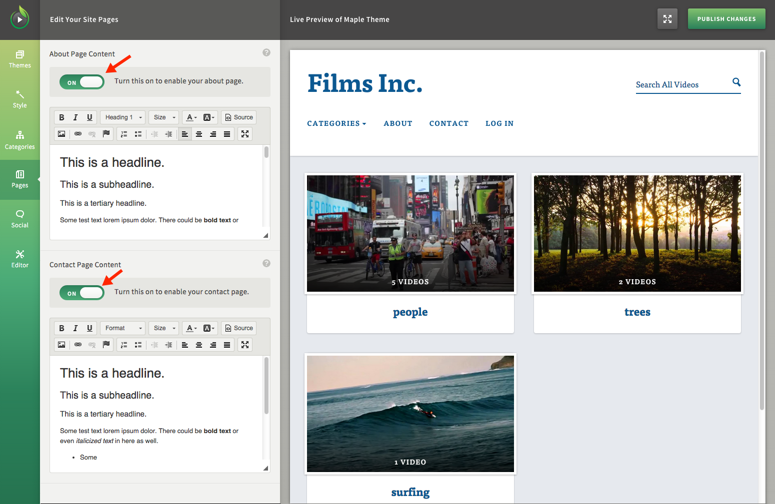 Create About and Contact Pages for Your Video Website Hosted by SproutVideo