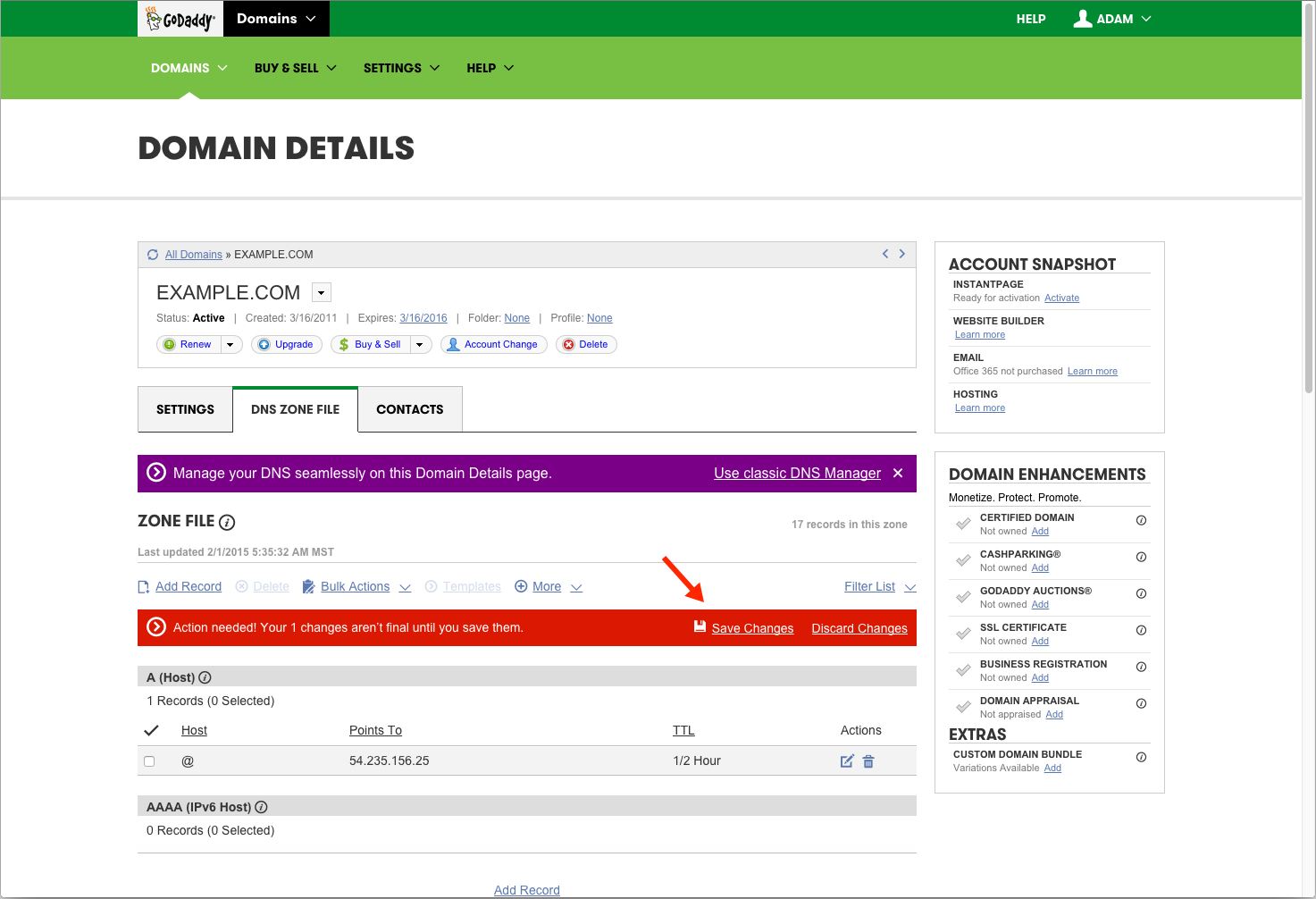 Save Changes to Finalize CNAME Record in GoDaddy Hosting Account