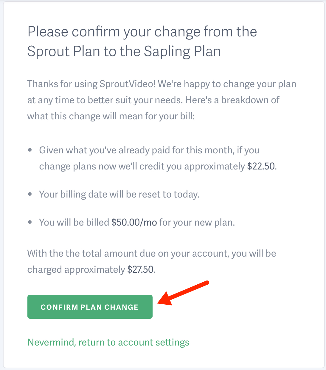 Upgrade or downgrade your SproutVideo account