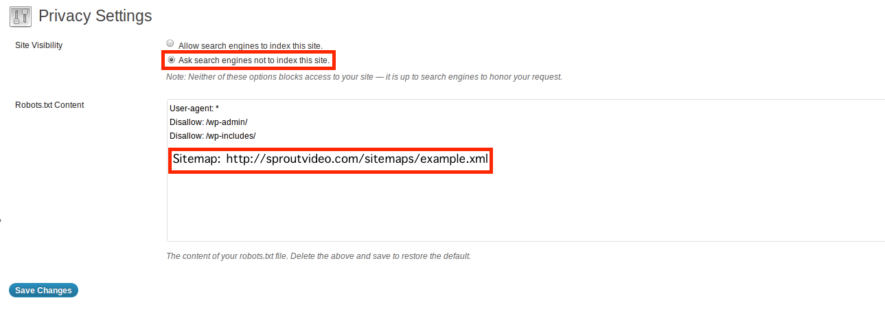 Wordpress settings for adding a SproutVideo video sitemap to a robots.txt file