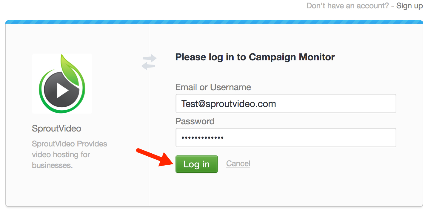 Log in to Campaign Monitor