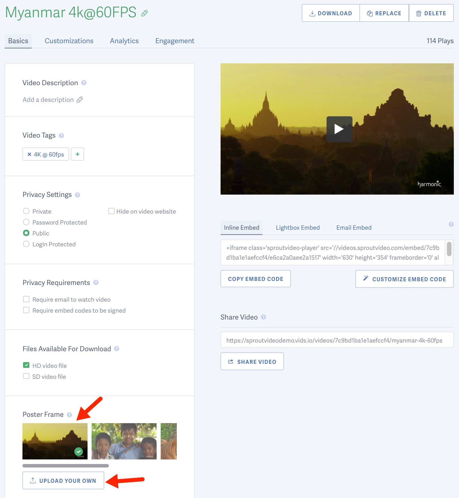 Change the poster frame for a video hosted on SproutVideo