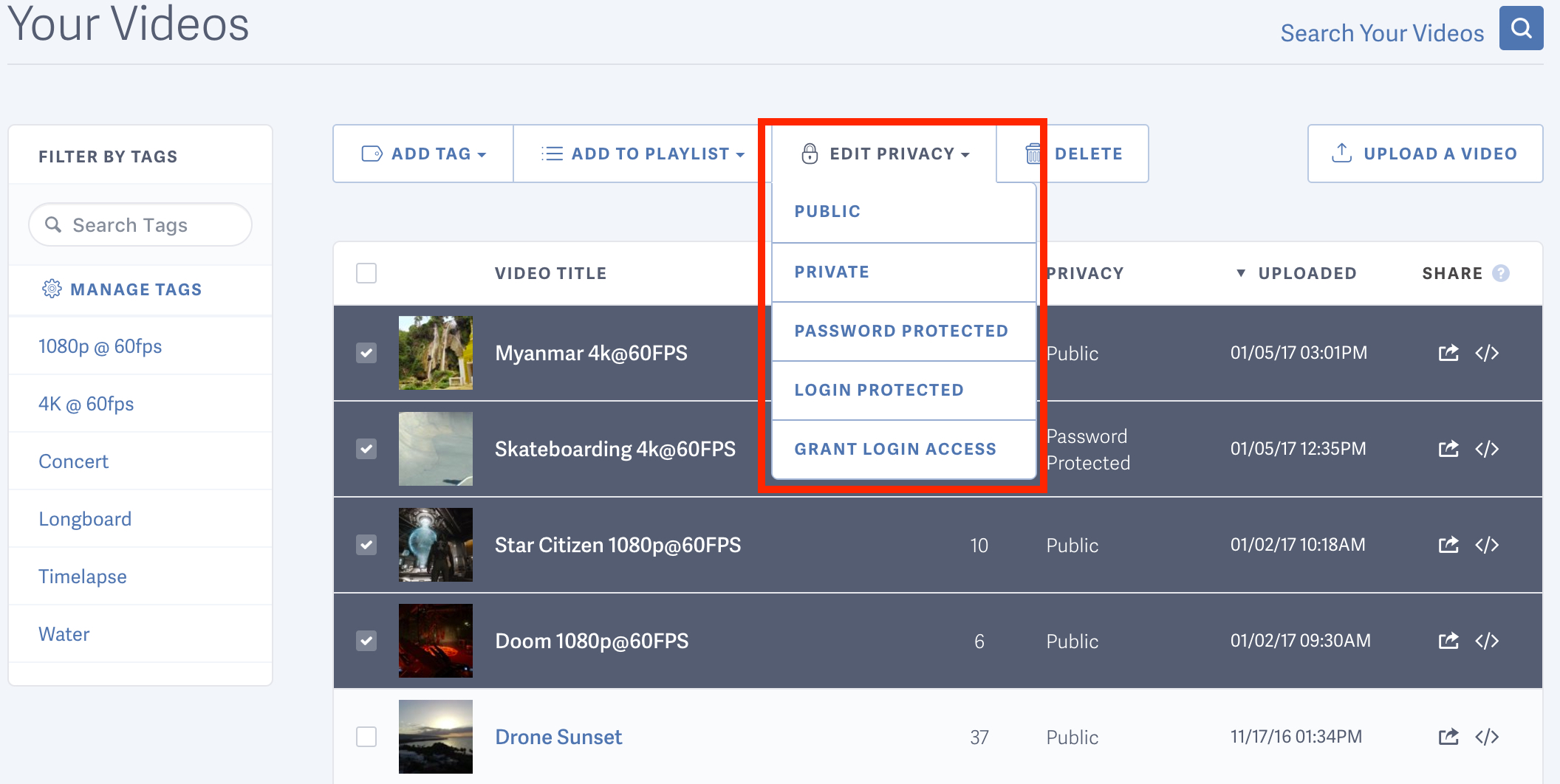 Select the new privacy setting for your videos hosted by SproutVideo