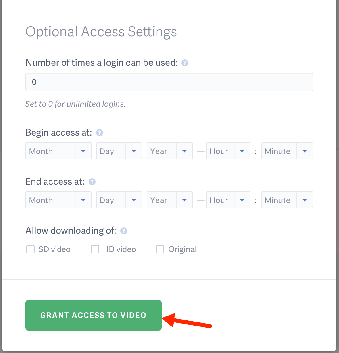 Set video login access to expire or configure video downloading permissions