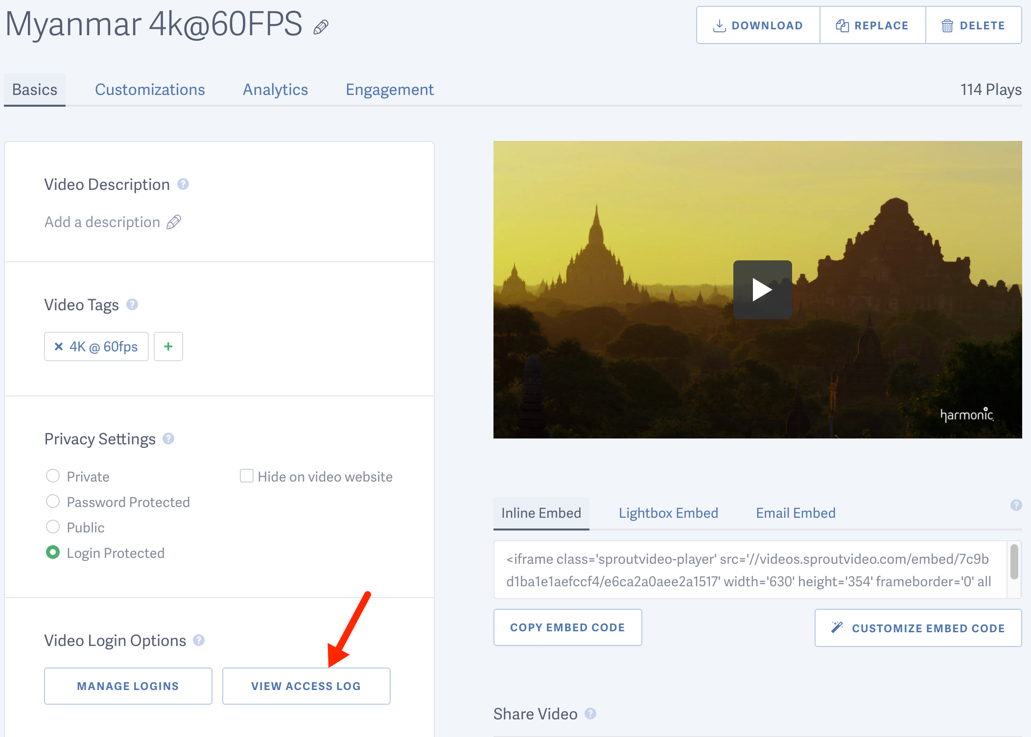 View the access log for a login protected video hosted on SproutVideo