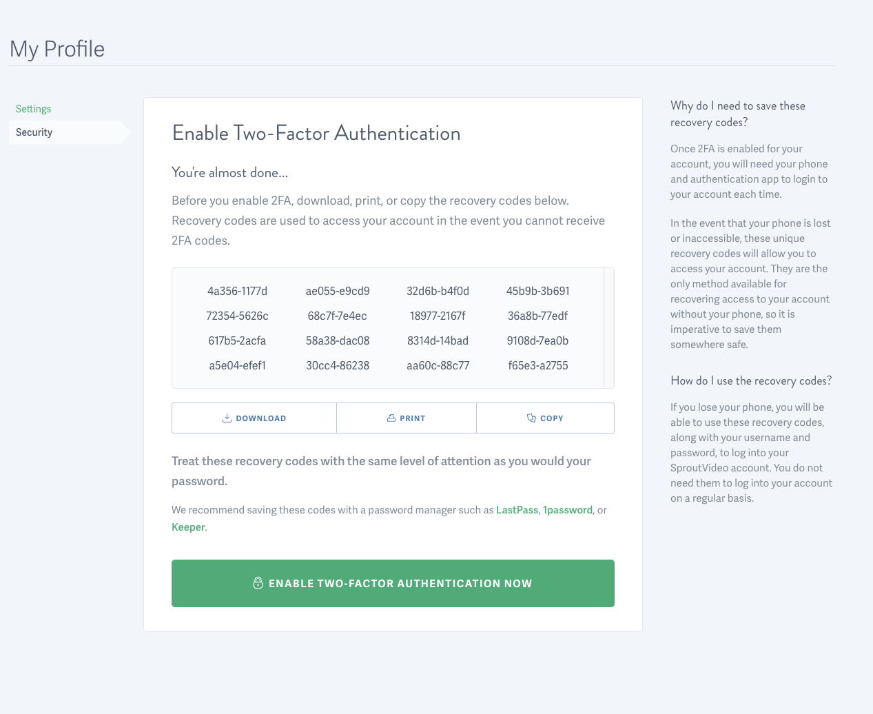 Enable Two-Factor Authentication for your SproutVideo account