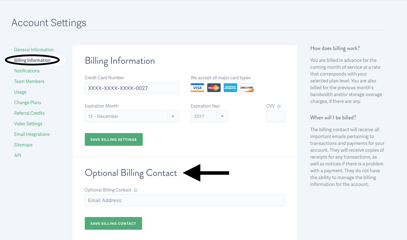 billing contact for a SproutVideo account