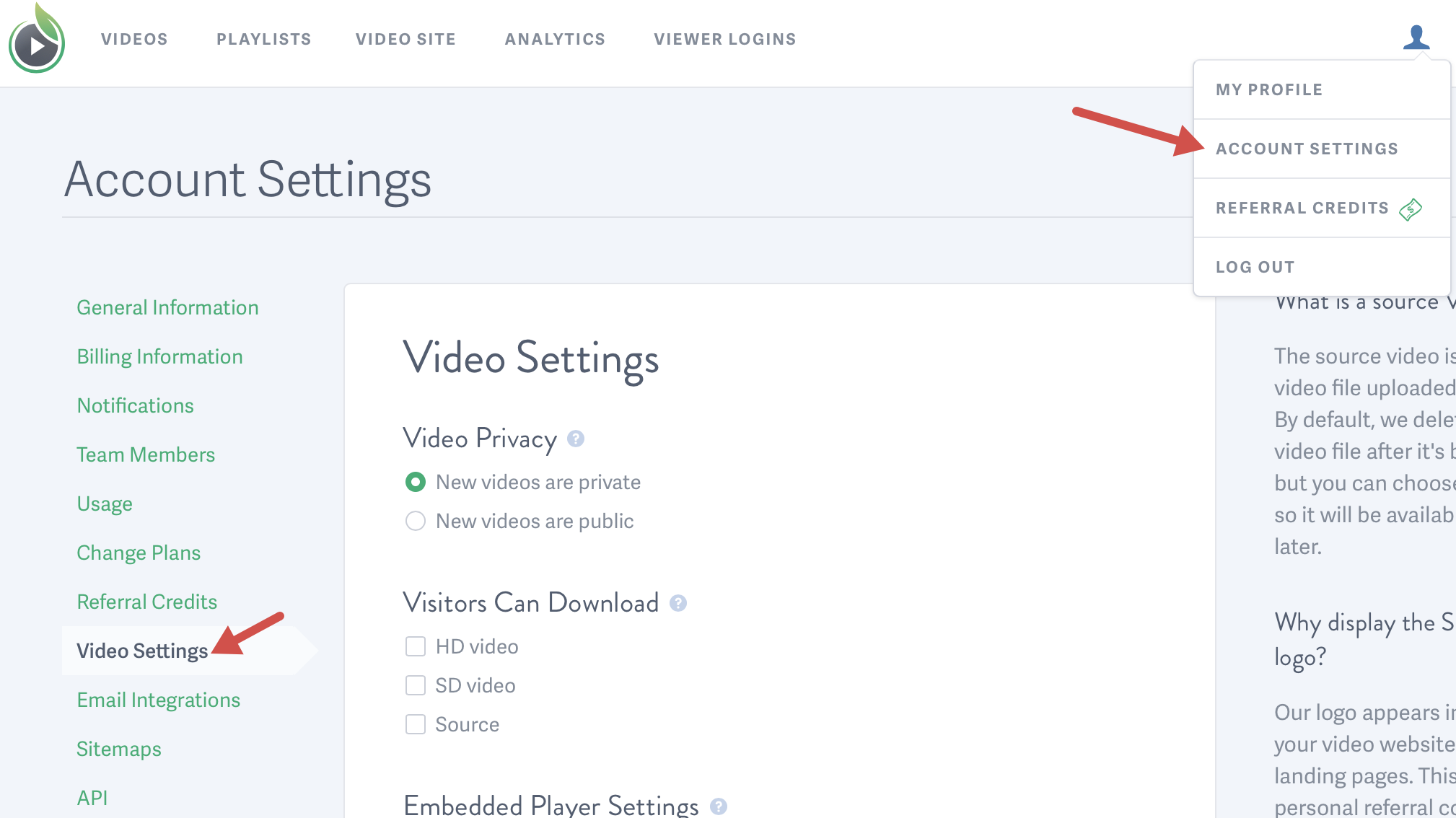 Manage your Video Settings for videos hosted on SproutVideo