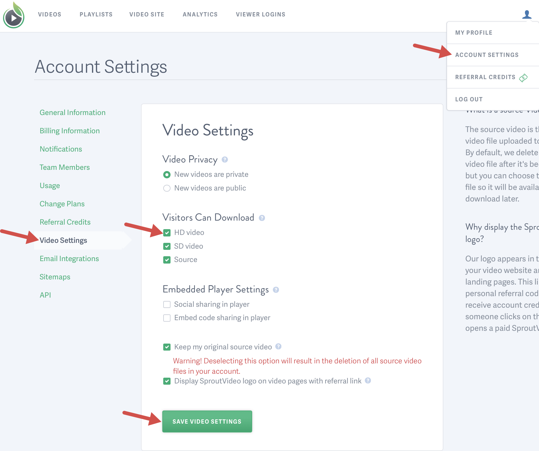 Visitor Download Settings for videos hosted on SproutVideo