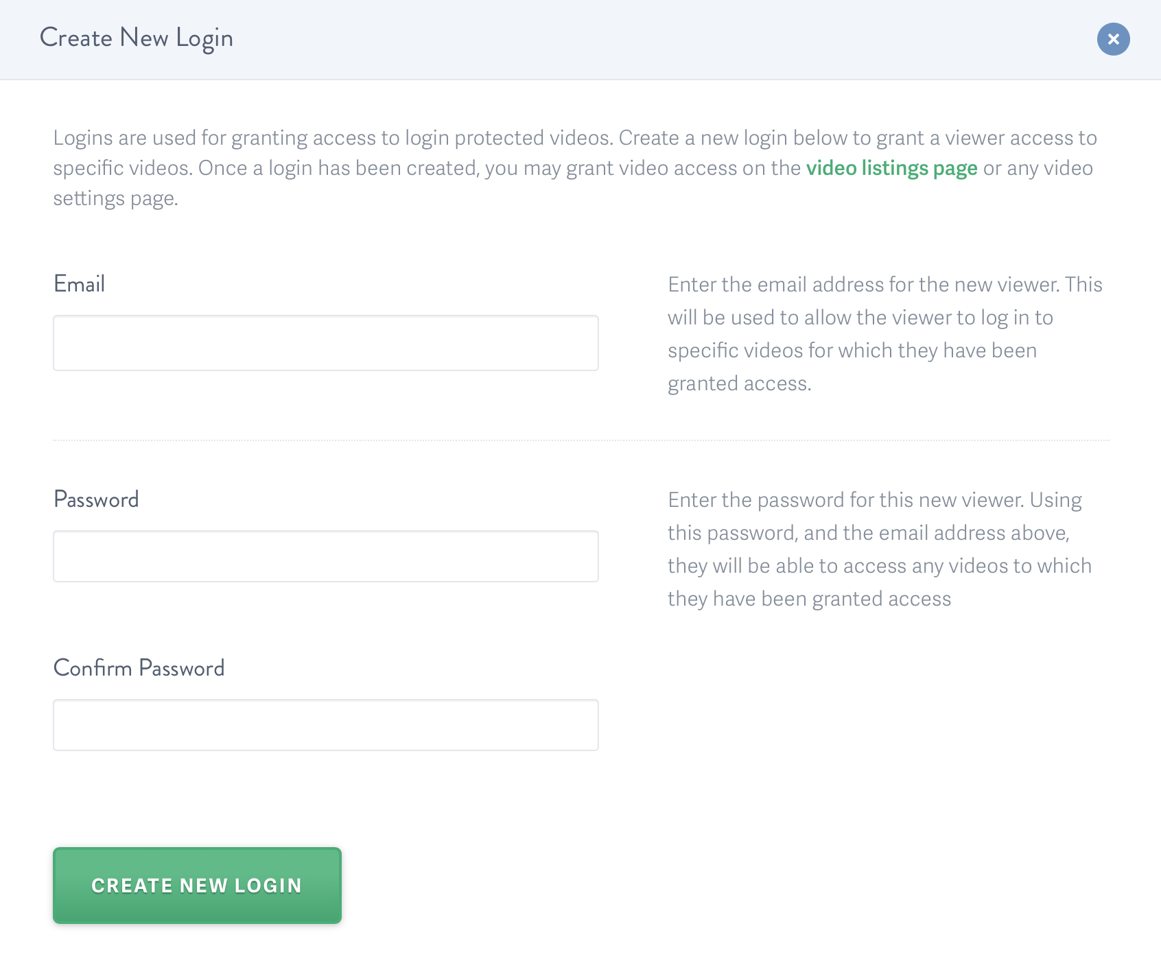 Enter login info for the user to watch the video hosted on SproutVideo