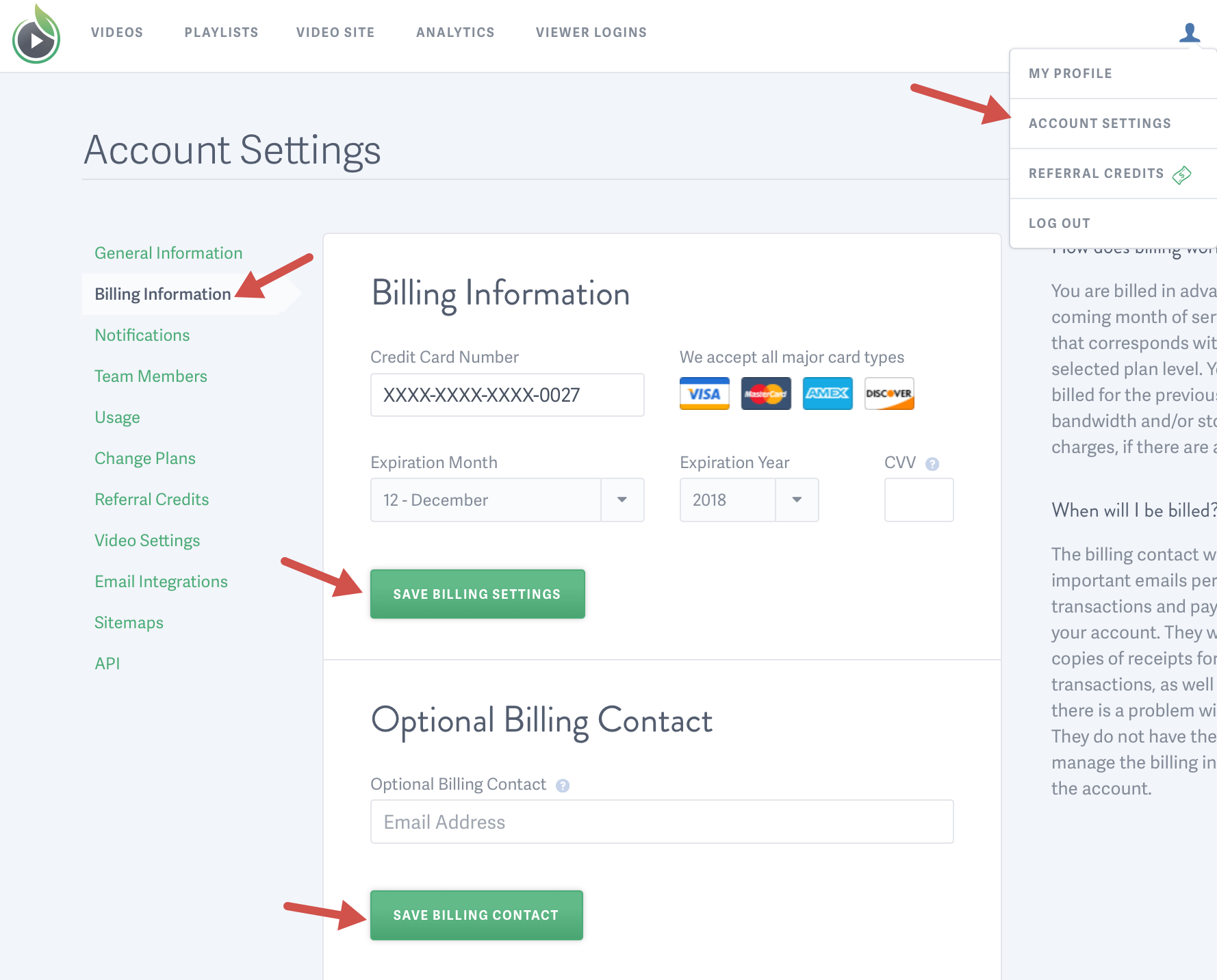 Update the billing information for your SproutVideo video hosting account