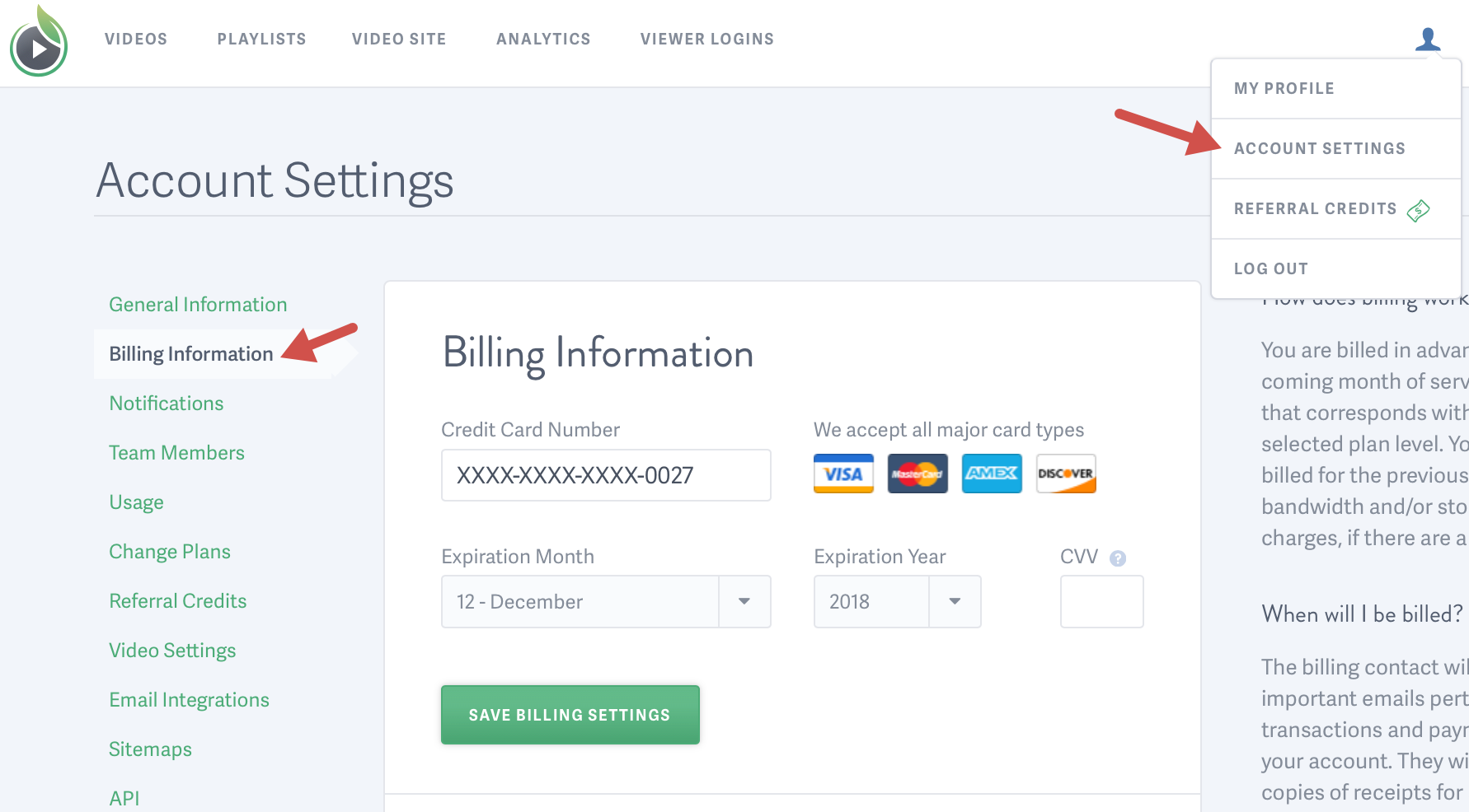 Access your billing information for your SproutVideo video hosting account