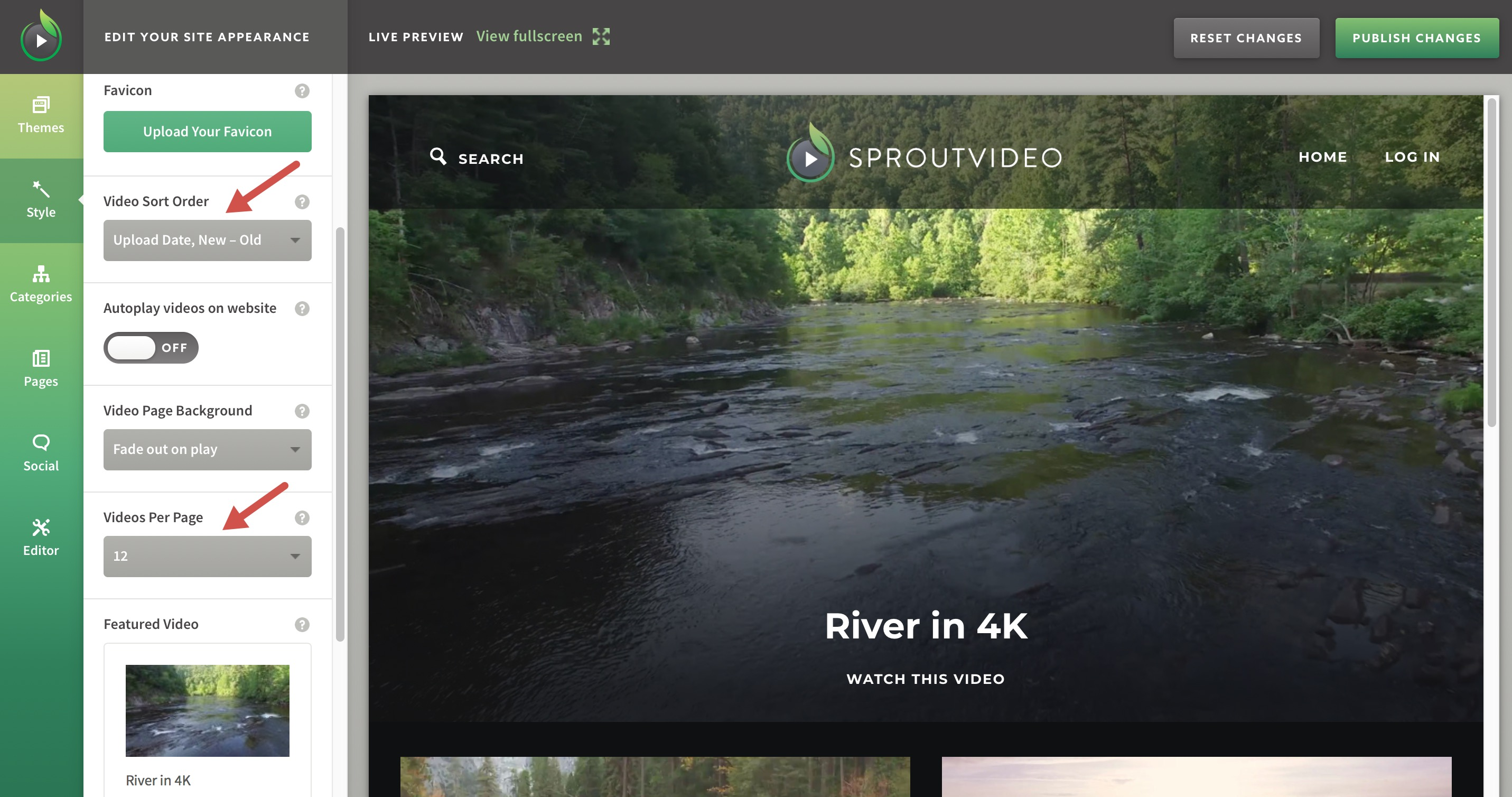 Change the Order in Which Your Videos Appear on Your Video Site hosted by SproutVideo