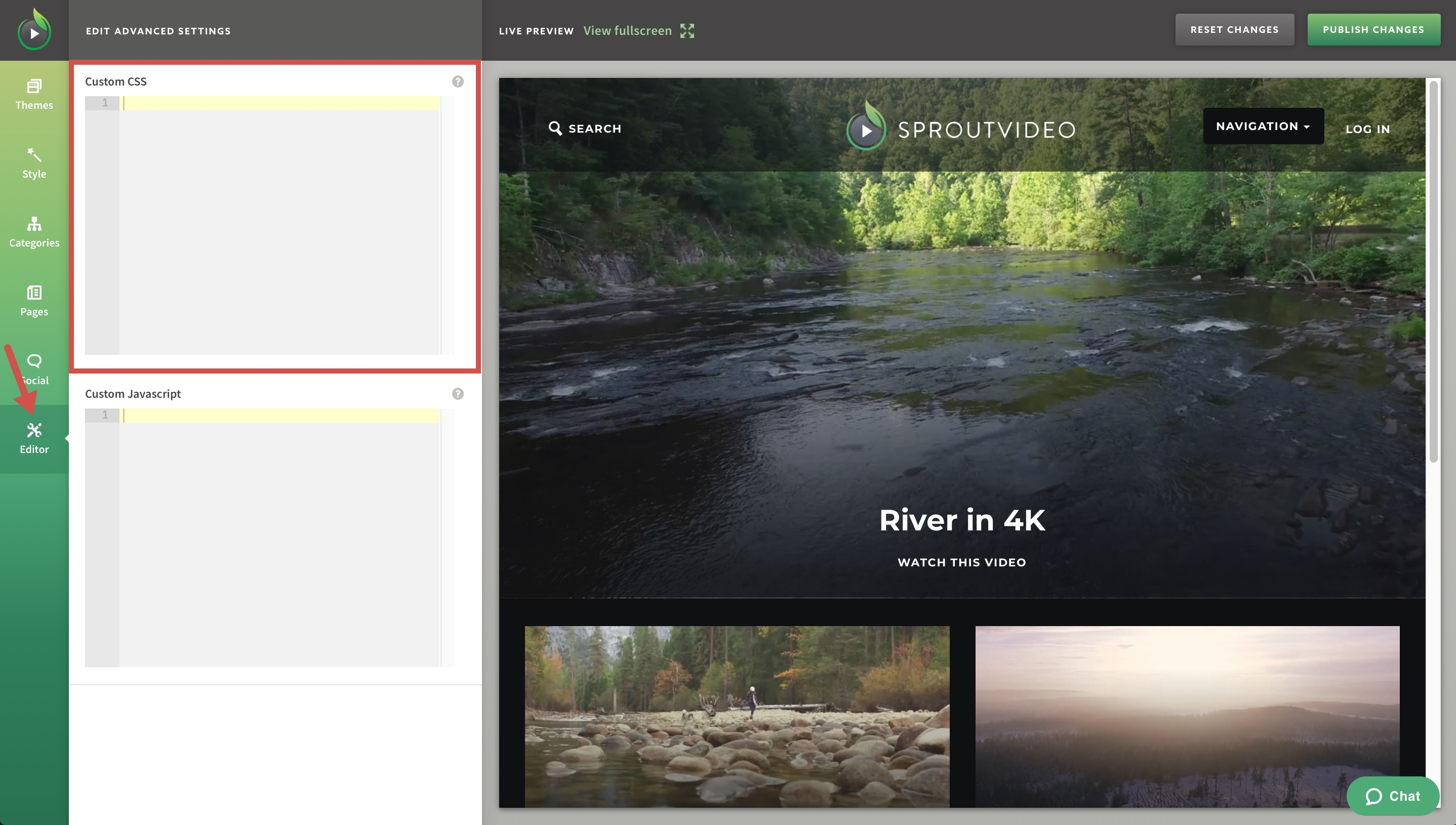 Enter Custom CSS for Your SproutVideo Website