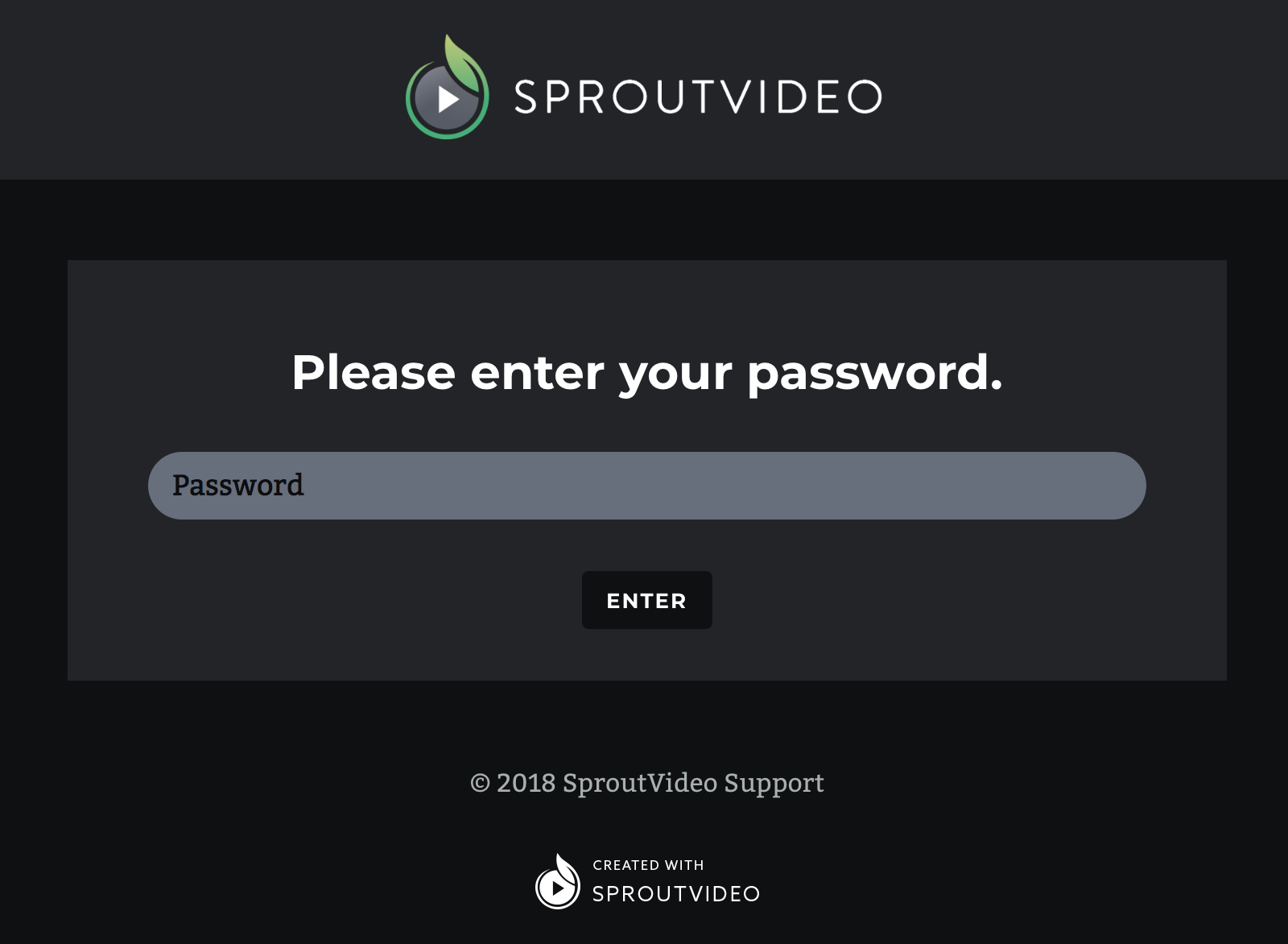 password protected video website hosted by SproutVideo