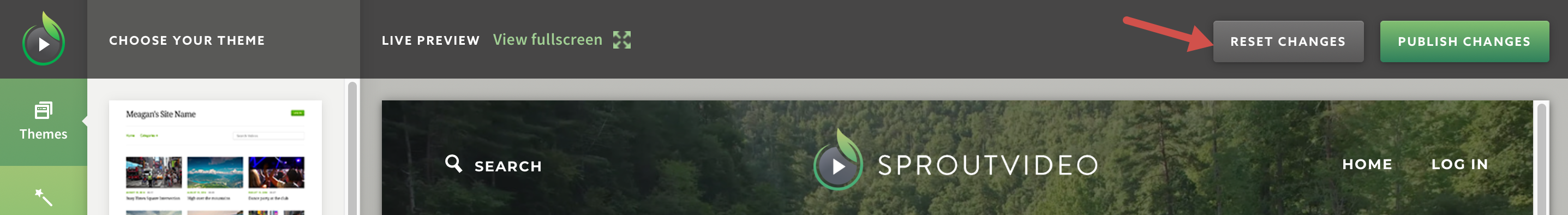Reset changes to your video website hosted on SproutVideo