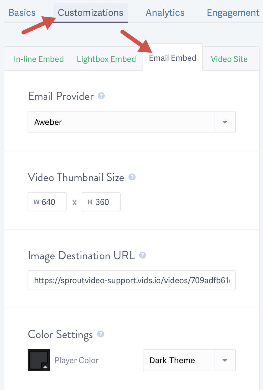 Customize the email embed code for a video hosted on SproutVideo