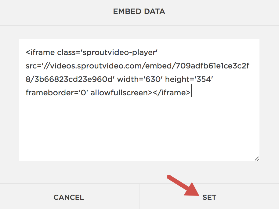 Paste in the embed code