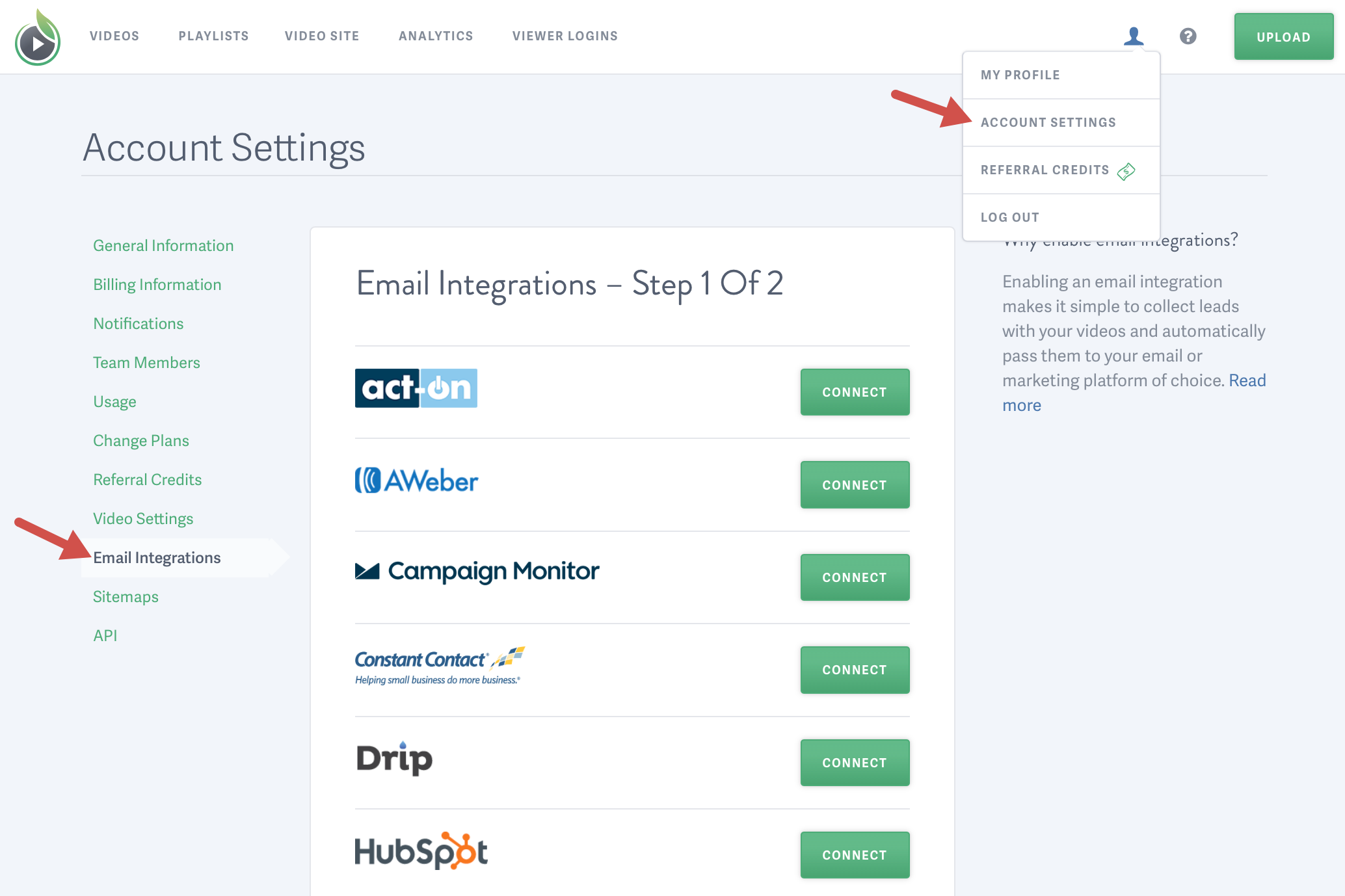 How to find Email integrations