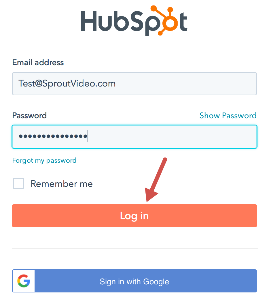 Log in to HubSpot