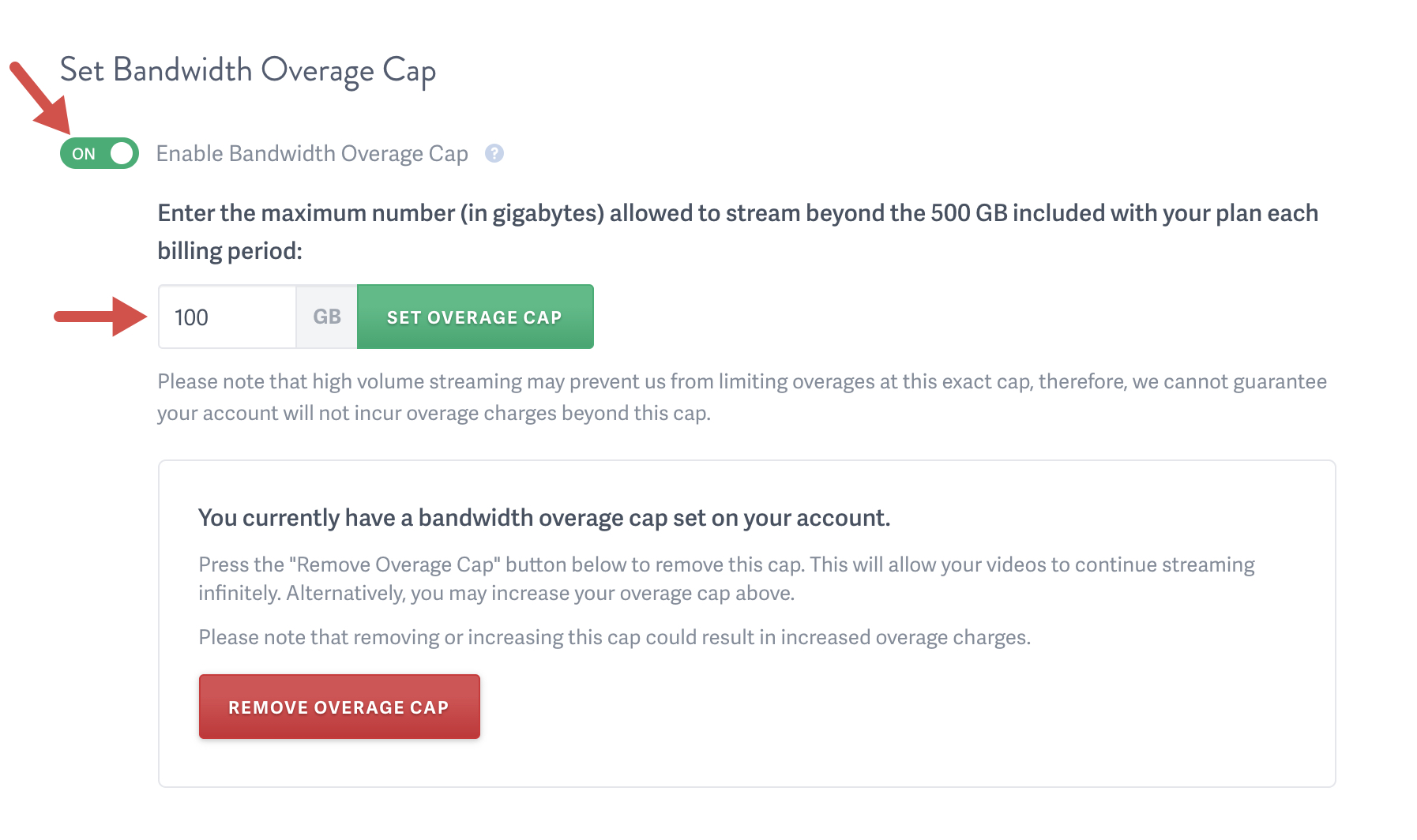 set a Bandwidth Overage Cap