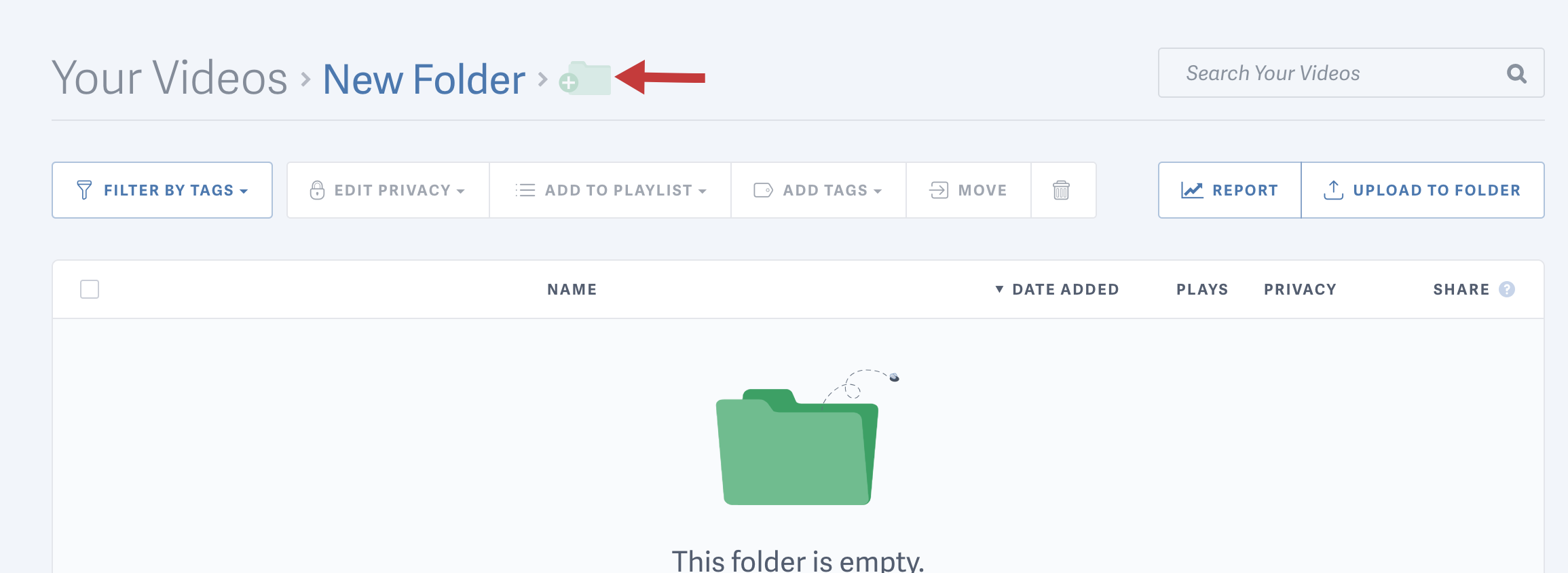 creating a subfolder with SproutVideo