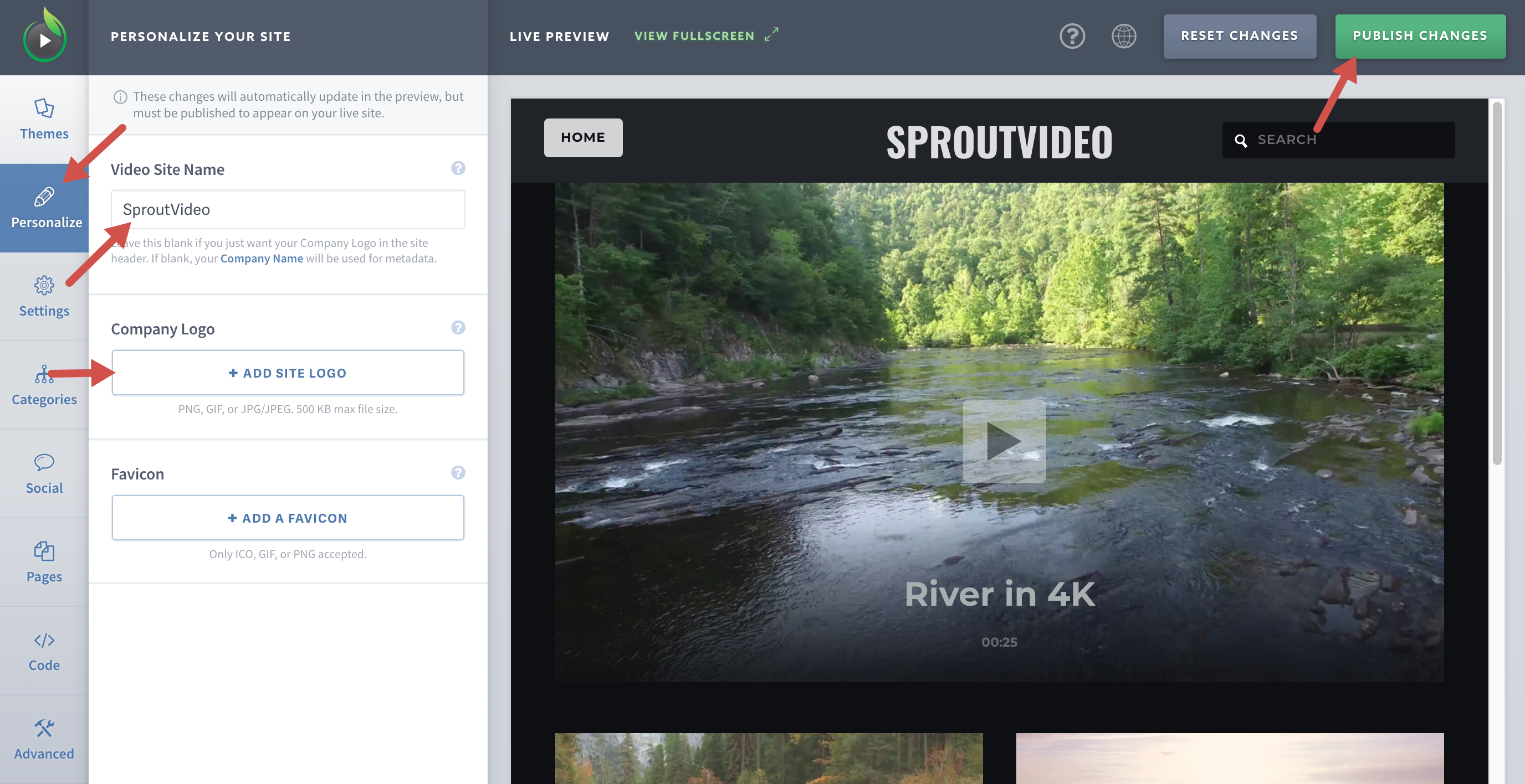 Pick a Name and Upload a Logo for your video website hosted by SproutVideo