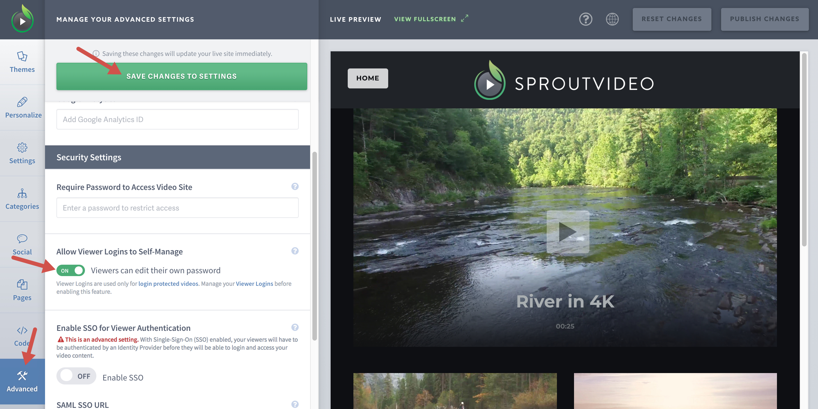 Allow Logins to Self-Manage Their Accounts on Your SproutVideo Website