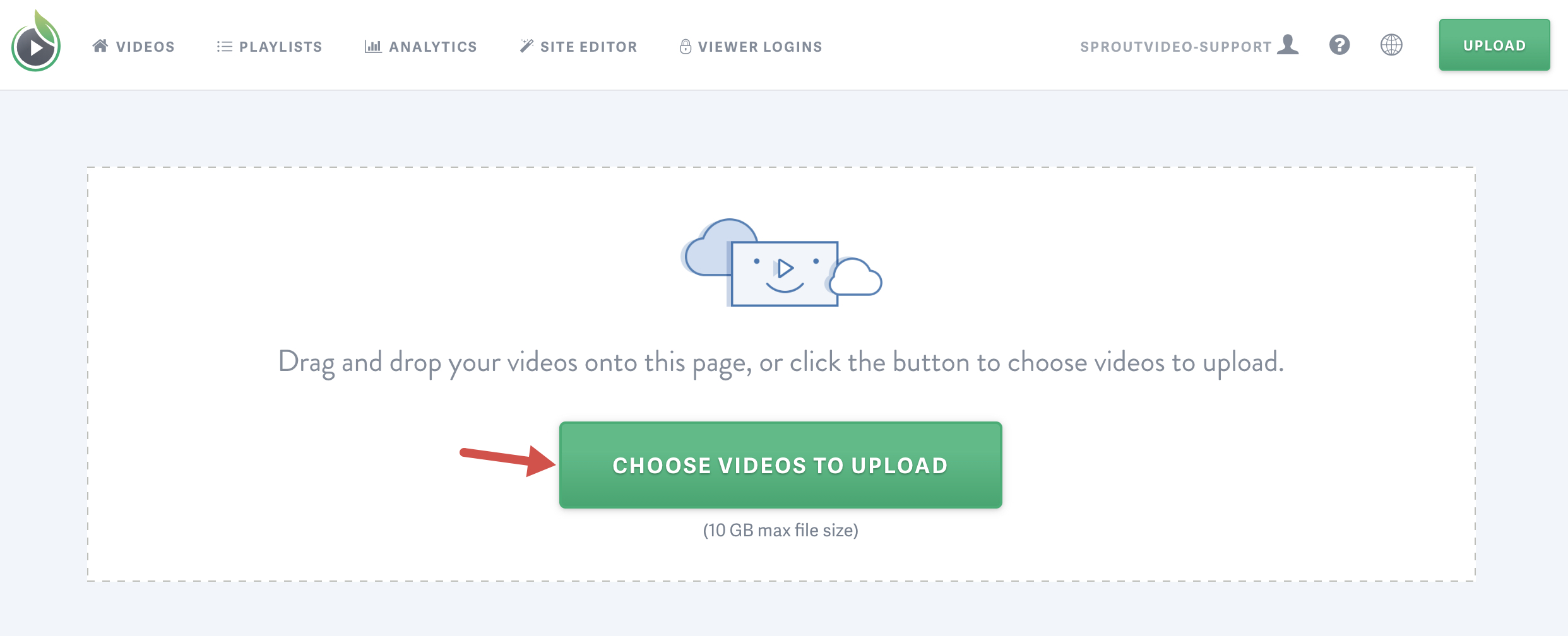 locate the file you'd like to upload to your SproutVideo hosting account