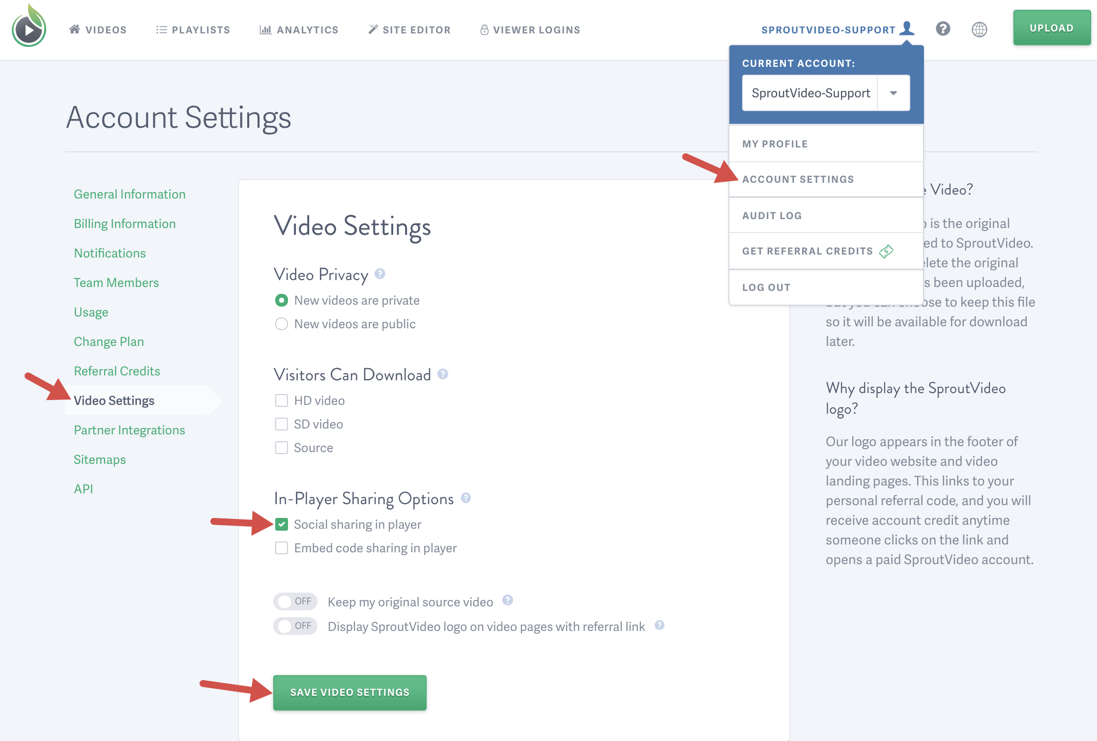 enable social sharing through your SproutVideo embed code