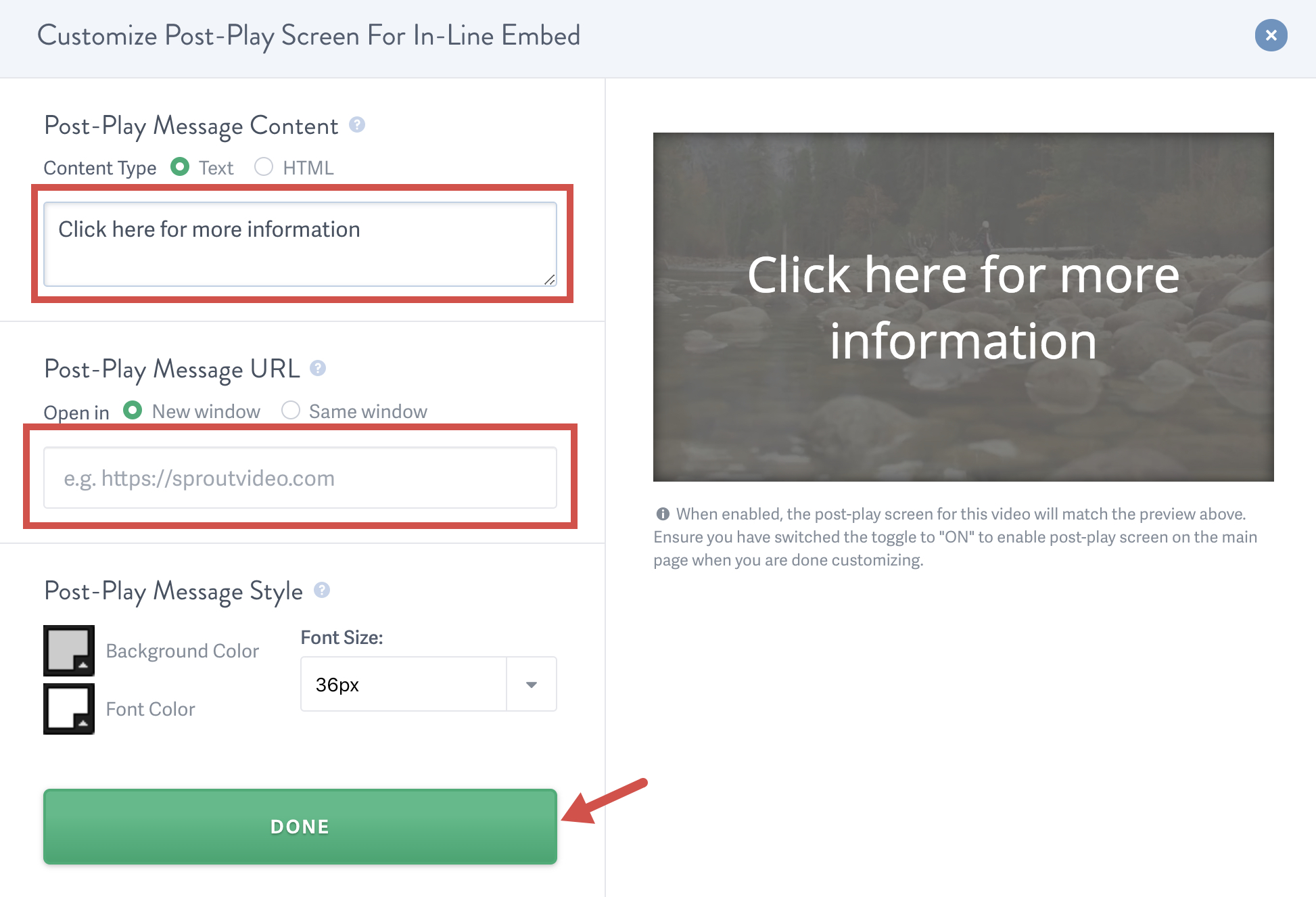 Enable the post-play screen for your video hosted on SproutVideo