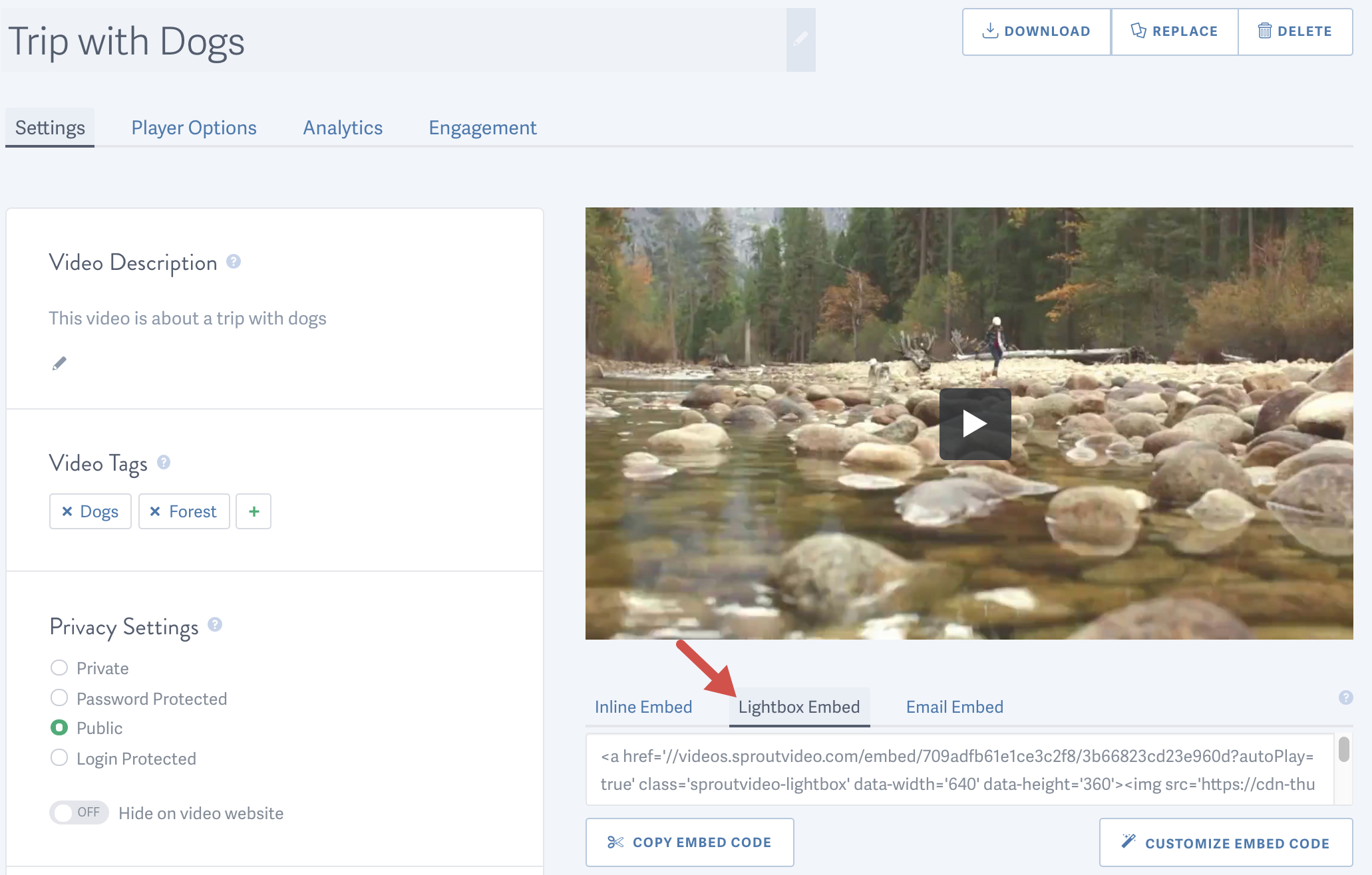 copy the Lightbox Embed Code for your video hosted on SproutVideo