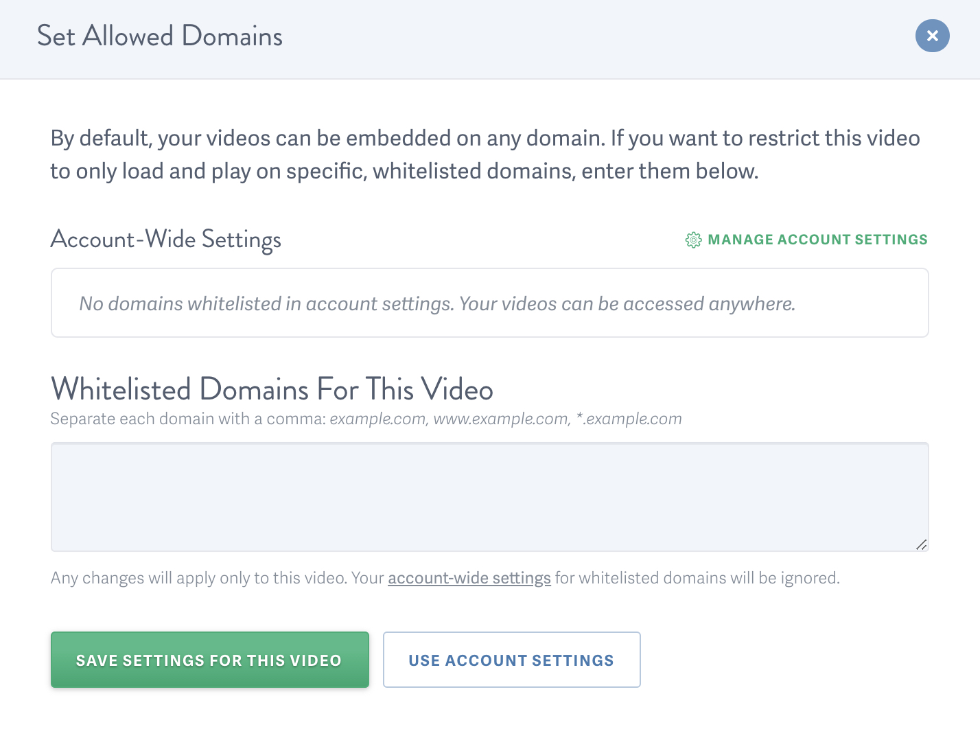 set Allowed Domains for an individual video