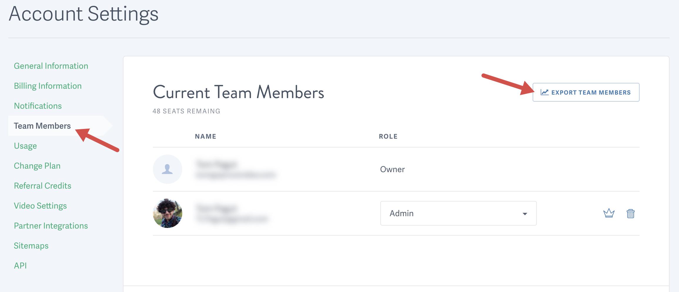 Export Team Members report