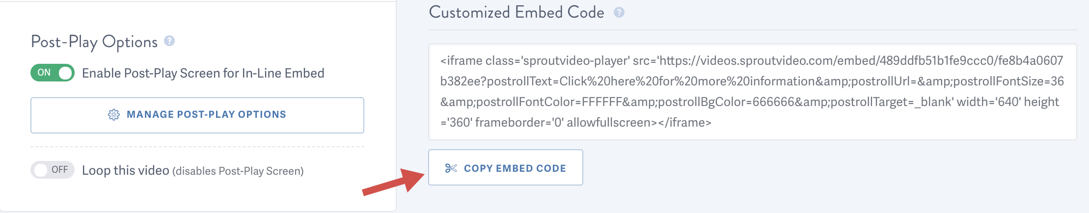 Copy the customized embed code